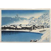 川瀬巴水: Souvenirs of Travel, Second Series: Dawn snow at the port of Ogi, Sado (Tabi miyage dainishu: Yuki no akebono [Sado Ogi wan]) - Scholten Japanese Art
