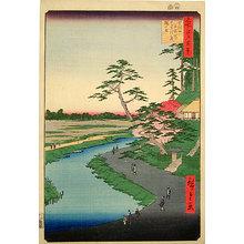 歌川広重: One Hundred Famous Views of Edo: Basho's Hut, Camelia Hill, at Sekiguchi Aqueduct (Meisho Edo hyakkei: Sekiguchi josui-bata, Basho-an Tsubaki-yama) - Scholten Japanese Art
