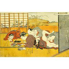 磯田湖龍齋: father making love to his wife while she and her oldest son practice calligraphy - Scholten Japanese Art