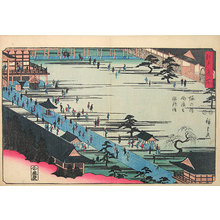 Utagawa Hiroshige: Famous Places in Edo: Myohoji Temple at Horinouchi, the founder of the sect [Nichiren] (Edo Meisho: Horinouchi Myohoji soshi moude) - Scholten Japanese Art