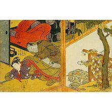 磯田湖龍齋: Prosperous Flowers of the Elegant Twelve Seasons: man making love to a sleeping woman underneath a mosquito net - Scholten Japanese Art