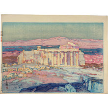 吉田博: Europe Series: Ruins of Athens (Acropolis- Day) [pink test print] (Oushuu: Azensu no Kaseki) - Scholten Japanese Art