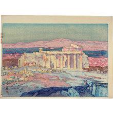 Yoshida Hiroshi: Europe Series: Ruins of Athens (Acropolis- Day) [pink test print] (Oushuu: Azensu no Kaseki) - Scholten Japanese Art