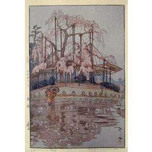 吉田博: Eight Scenes of Cherry Blossoms: Yozakura in Rain (Sakura haddai: Shunsame) - Scholten Japanese Art