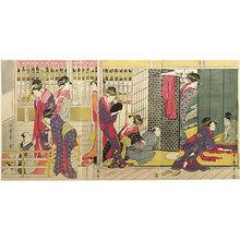 喜多川歌麿: Morning Party at the Temporary Lodgings of the Pleasure Quarters (Karitaku no Kinuginu) - Scholten Japanese Art