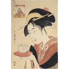 Kitagawa Utamaro: Renowned Beauties Likened to the Six Immortal Poets: Appearing Again, the Waitress Okita of the Teahouse Naniwa (Komei bijin rokkasen: Saishutsu Naniwaya Okita) - Scholten Japanese Art