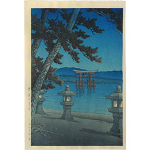 川瀬巴水: Moonlit night, Miyajima (Miyajima no tsukiyo) - Scholten Japanese Art