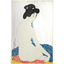 橋口五葉: Woman after a Bath (mica ground) (Yokugo no onna) - Scholten Japanese Art