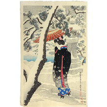 Ito Shinsui: The First Series of Modern Beauties: Snow at the Shrine (Gendai bijinshu dai-isshu: Shato no yuki) - Scholten Japanese Art