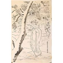 伊東深水: The First Series of Modern Beauties: Snow at the Shrine keyblock proof (Gendai bijinshu dai-isshu: Shato no yuki-sumizuri-e) - Scholten Japanese Art