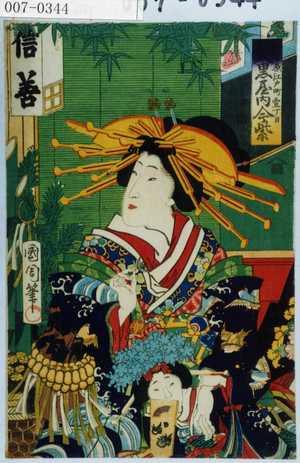 Toyohara Kunichika: 「新吉原江戸町一丁目 大黒屋内今紫」 - Waseda University Theatre Museum