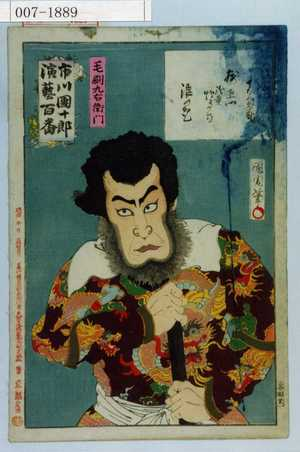 Toyohara Kunichika: 「市川団十郎演芸百番」「毛剃九右衛門」 - Waseda University Theatre Museum