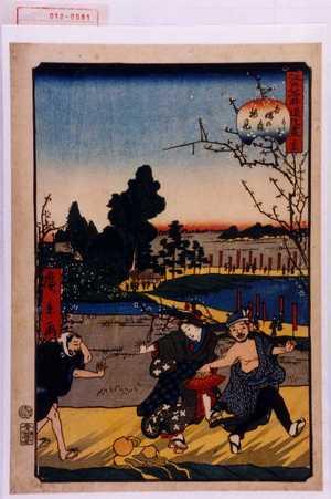 Utagawa Hirokage: 「江戸名所道戯尽 三十五」「かとり吾嬬の森梅見」 - Waseda University Theatre Museum