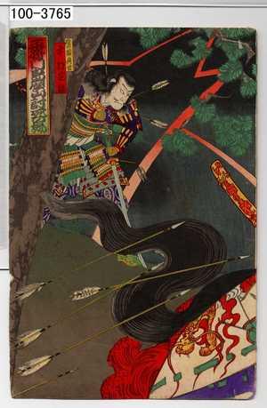 Toyohara Kunichika: 「平将門島広山討死の場」「権の頭典世 中村芝翫」 - Waseda University Theatre Museum