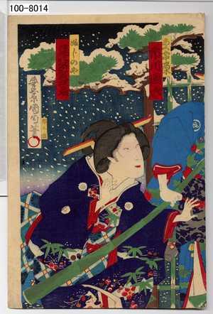 Toyohara Kunichika: 「あく女中高木 市川団六」「ふじのや 尾上多賀之丞」 - Waseda University Theatre Museum