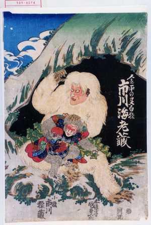 Utagawa Kunisada: 「金平の霊白猿 市川海老蔵」 - Waseda University Theatre Museum