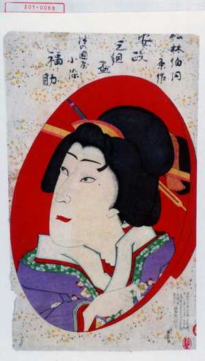 Utagawa Toyosai: 「松林伯円原作 安政三組盃」「津の国屋小染 福助」 - Waseda University Theatre Museum