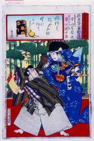 Toyohara Kunichika: 「当狂言俳優腕競」「歌舞妓十八番勧進帳」「富樫左衛門 市川左団次」「武蔵坊弁慶 市川団十郎」 - Waseda University Theatre Museum