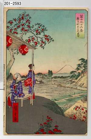 Utagawa Hiroshige: 「冨士三十六景 雑司がや二見茶や」 - Waseda University Theatre Museum
