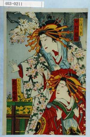 Toyohara Kunichika: 「かつらき 中村福助」「うすぐも 市川女寅」 - Waseda University Theatre Museum