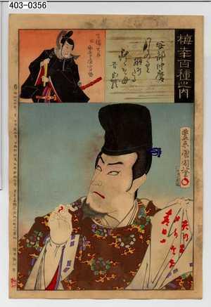 Toyohara Kunichika: 「梅幸百種之内」「安倍仲麿」「吉備大臣 故助高屋高助」 - Waseda University Theatre Museum