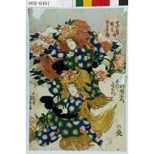 Utagawa Kunisada: 「十二月ノ内 臘月 雪の石橋」「[市]村羽左衛門」「中むら哥右衛門」 - Waseda University Theatre Museum