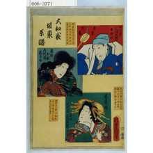 Utagawa Kunisada: 「大和家坂東系譜」「真柴久吉 四代目三津五郎 後勘弥」「鬼神お松 五代目しうか」「若菜姫 六代目当時 三津五郎」 - Waseda University Theatre Museum