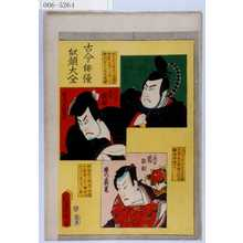 Utagawa Kunisada: 「古今俳優似顔大全」「藤原の時平 元祖 嵐雛助」「石川五右衛門 二代目嵐雛助」「源の義光 三代目嵐雛助」 - Waseda University Theatre Museum