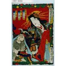 Toyohara Kunichika: 「俳優見立術悪競」「若菜姫 岩井半四郎」「関羽 市川団十郎」「清盛 中村芝翫」 - Waseda University Theatre Museum