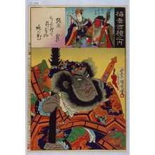 Toyohara Kunichika: 「梅幸百種之内」「張飛」「関羽 中村芝翫」「玄徳 故坂東彦三郎」 - Waseda University Theatre Museum
