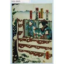 Ochiai Yoshiiku: 「当太郎 市三郎」「当吾女房おみね 尾上菊次郎」「三之助」「国まつ 松二郎」 - Waseda University Theatre Museum