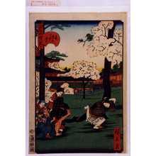 Utagawa Hirokage: 「江戸名所道戯尽 二十一」「上野中堂二ツ堂の花見」 - Waseda University Theatre Museum