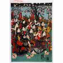 Utagawa Kunisada III: 「韋駄天仁兵衛」「荒五郎茂兵衛」「夢の一郎兵衛」「大仏三奴」「死人小左エ門」「唐犬十右エ門」「腕の喜三郎」「天狗伝七」「小仏小兵衛」「でっくり清兵衛」「唐犬権兵衛」「金神長五郎」 - Waseda University Theatre Museum