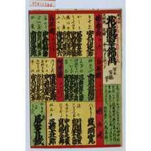 Utagawa Yoshitaki: 「明治六大新版」「花競翠錦画 目録 中錦十二枚つゝき」 - Waseda University Theatre Museum