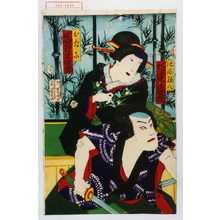 Toyohara Chikanobu: 「池添孫八 坂東家橘」「おたに 岩井半四郎」 - Waseda University Theatre Museum