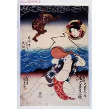 Utagawa Kunisada: 「九変化ノ内」「雷 鳥羽絵 娘 尾上多見蔵」「水中早かわり 大評判/\」 - Waseda University Theatre Museum