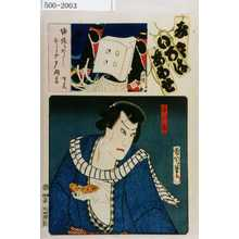 Toyohara Kunichika: 「み立いろはあわせ」「与三郎」 - Waseda University Theatre Museum