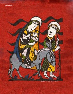 Watanabe Sadao: Biblical Scene - Flight to Egypt - Asian Collection Internet Auction