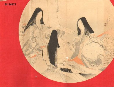 富岡英泉: Three court ladies writing poems on TANZAKU - Asian Collection Internet Auction