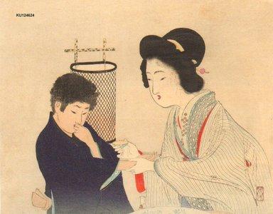 富岡英泉: GEISHA tempting boy with sake - Asian Collection Internet Auction
