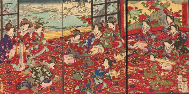 豊原周延: Court Ladies enjoying snowy day - Asian Collection Internet Auction
