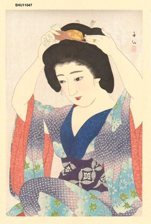 After Natori, Shunsen: Maiko Preparing Coiffure - Asian Collection Internet Auction
