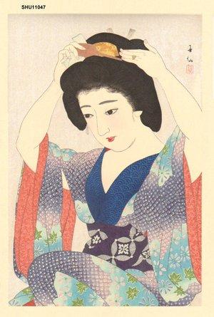 After Natori, Shunsen: Maiko Preparing Coiffure - Asian Collection Internet Auction