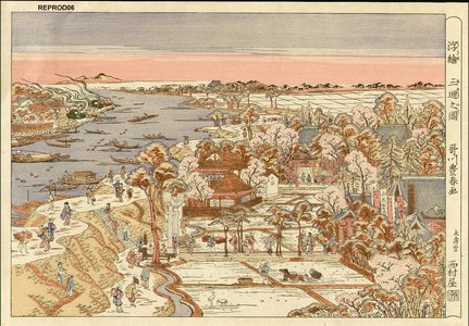 Utagawa Toyoharu: Bird's-eye view of Mimeguri - Asian Collection Internet Auction