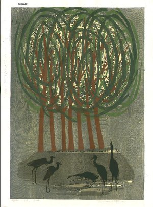 Shima, Tamami: Tree and cranes - Asian Collection Internet Auction