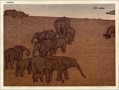 吉田遠志: Wildlife (Elephants) - Asian Collection Internet Auction
