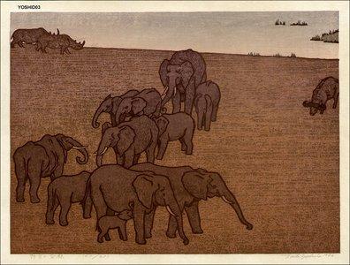 Yoshida Toshi: Wildlife (Elephants) - Asian Collection Internet Auction