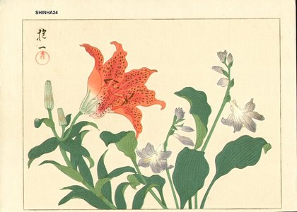Sakai Hoitsu: Tiger lily and purple hosta - Asian Collection Internet Auction