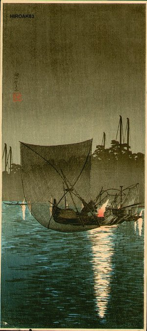 Takahashi Hiroaki: In the Evening, Fishing at Tsududajima - Asian Collection Internet Auction
