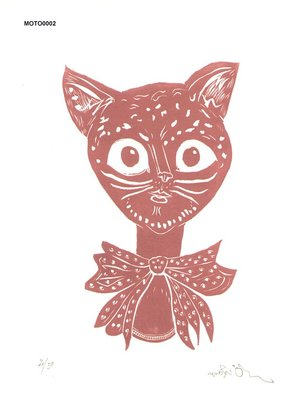 Oi, Motoi: Cat with bow - Asian Collection Internet Auction